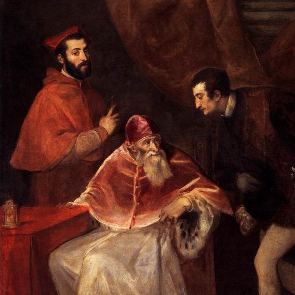 Paolo III con i nipoti Alessandro e Ottavio Farnese